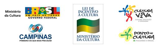 Logotipo do Minist�rio da Cultura; Logotipo da Prefeitura de Campinas; Logotipo da Lei de Incentivo � Cultura; Logotipo da Cultura Viva; Logotipo do Ponto de Cultura