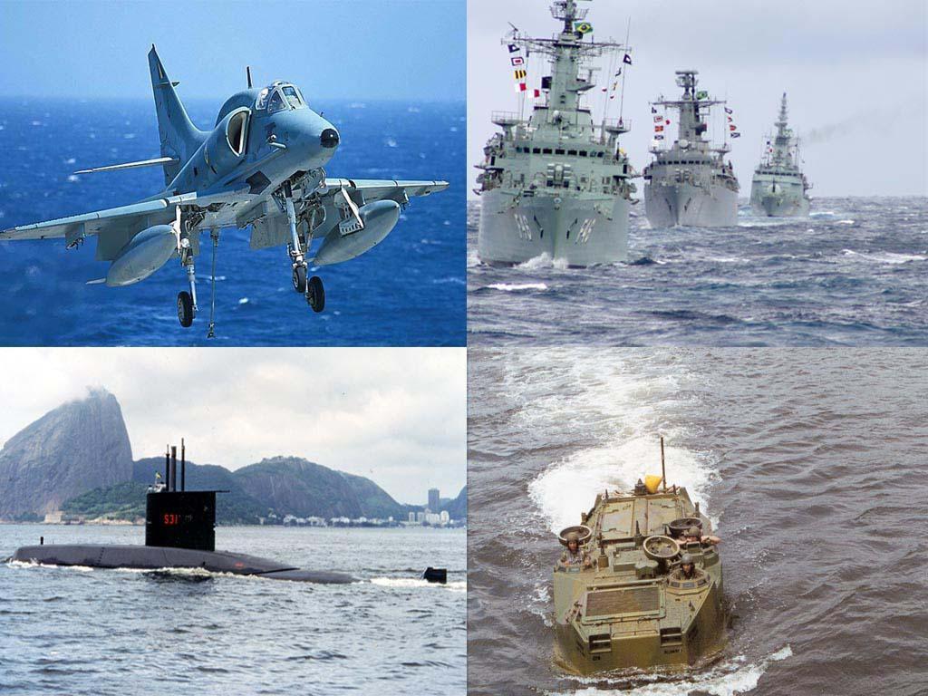 Quatro imagens em uma, um caça em vôo, uma esquadra de navios, um submarino na baia de guanabara e um transporte áquatico de tropas terrestres.